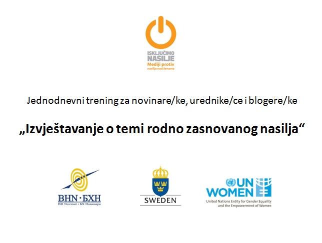 """Najava: radionice """"Izvještavanje o temi rodno zasnovanog nasilja"""" u Zenici, Banjaluci i Mostaru"""