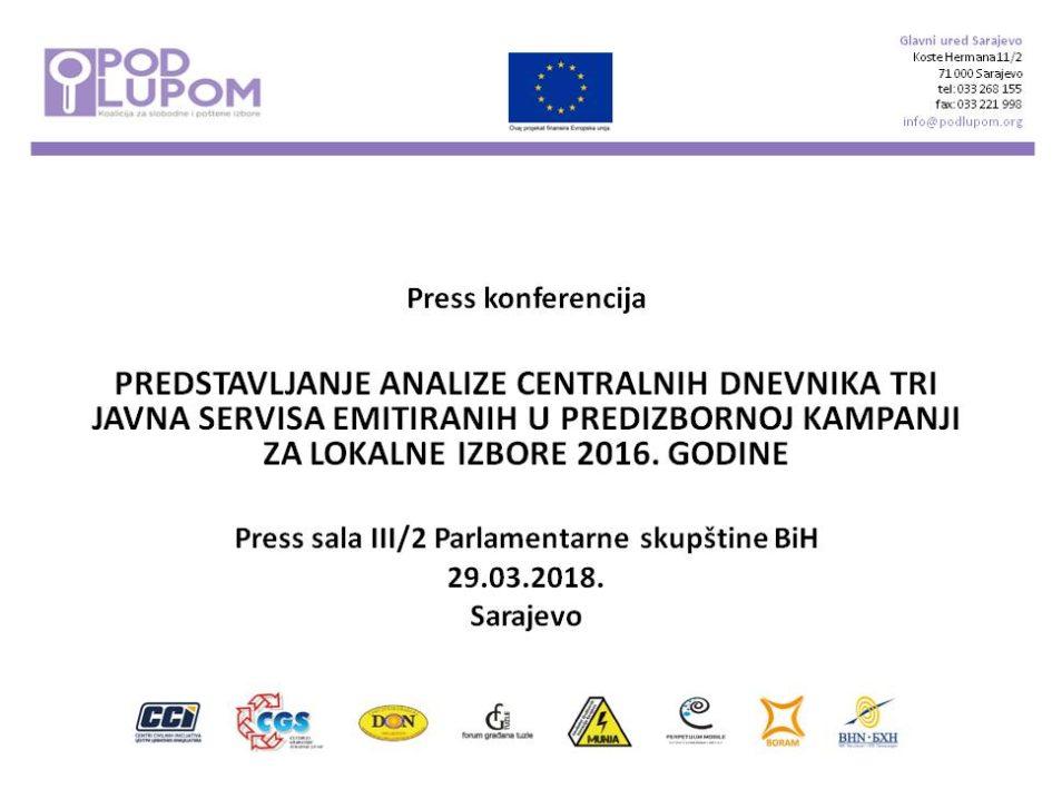 Najava: Predstavljanje analize centralnih dnevnika tri Javna servisa emitiranih u predizbornoj kampanji za Lokalne izbore 2016. godine
