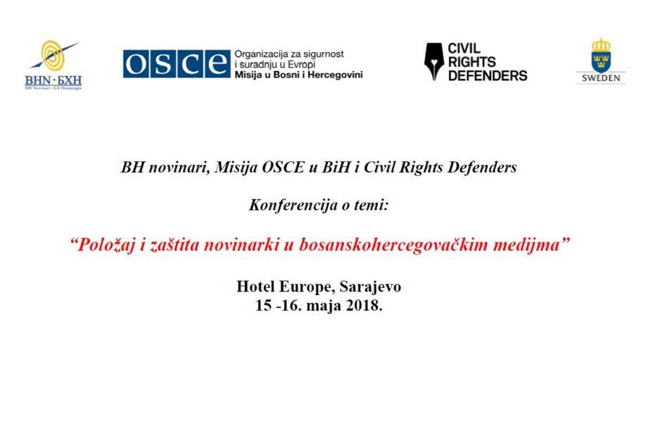 """Najava: Konferencija """"Položaj i zaštita novinarki u bh. medijima"""" u Sarajevu 15. i 16. maja"""