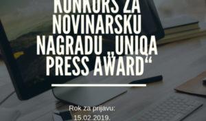 """Raspisan konkurs za novinarsku nagradu """"UNIQA Press Award"""""""