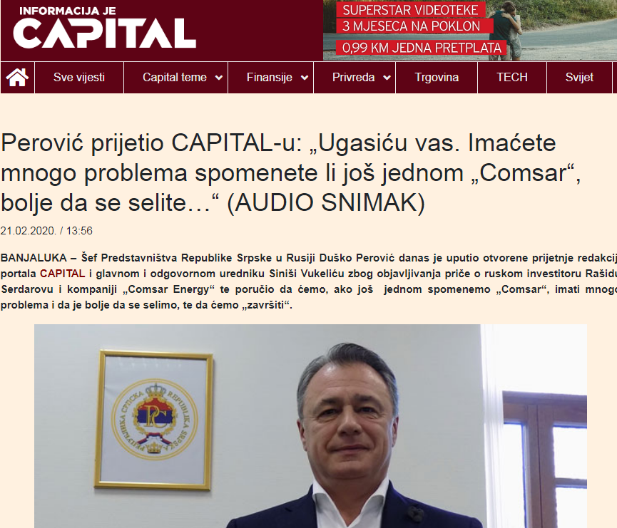 BH Journalists strongly condemn Dusko Perovic's threats to the editorial board of Capital portal