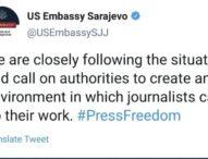 Ambasada SAD poručila bh. vlastima: Izvještaji o napadima na novinare su zabrinjavajući, stvorite okruženje za njihov siguran rad