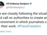 US Embassy calls on authorities in BiH: Reports of attacks on journalists are worrying, create an environment for their safe work
