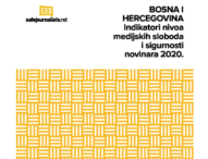 """Presentation of the report """"Indicators on the level of media freedom and journalists' safety in BiH 2020"""""""